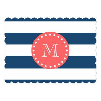 Navy Blue White Stripes Pattern, Coral Monogram 5x7 Paper Invitation Card