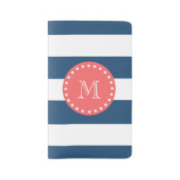 Navy Blue White Stripes Pattern, Coral Monogram Large Moleskine Notebook