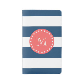 Navy Blue White Stripes Pattern, Coral Monogram Large Moleskine Notebook