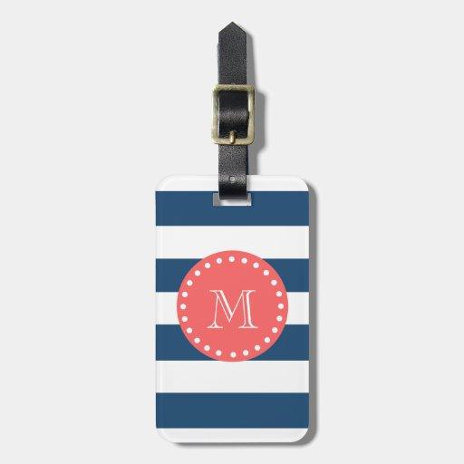 Navy Blue White Stripes Pattern, Coral Monogram Luggage Tags