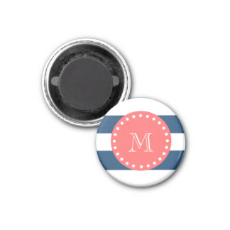 Navy Blue White Stripes Pattern, Coral Monogram Magnet