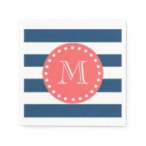 Navy Blue White Stripes Pattern, Coral Monogram Paper Napkin