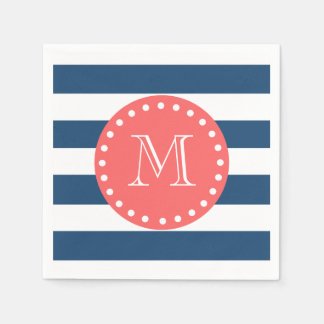Navy Blue White Stripes Pattern, Coral Monogram Paper Napkin