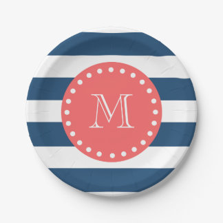 Navy Blue White Stripes Pattern, Coral Monogram Paper Plate