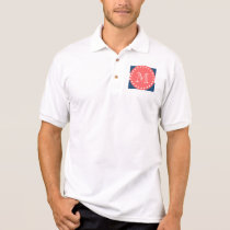 Navy Blue White Stripes Pattern, Coral Monogram Polo Shirt