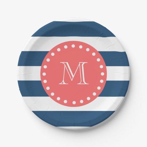 navy blue white stripes pattern coral monogram 7 inch paper plate zazzle. Black Bedroom Furniture Sets. Home Design Ideas