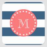 Navy Blue White Stripes Pattern, Coral Monogram Square Stickers