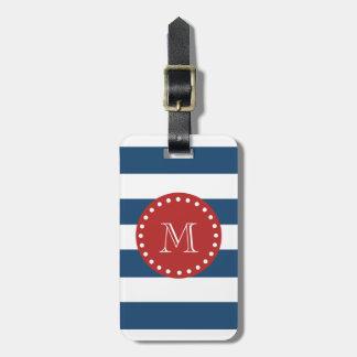 Navy Blue White Stripes Pattern, Red Monogram Bag Tag