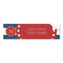 Navy Blue White Stripes Pattern, Red Monogram Bumper Sticker