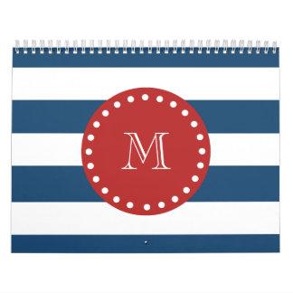 Navy Blue White Stripes Pattern, Red Monogram Calendars