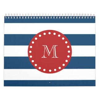 Navy Blue White Stripes Pattern, Red Monogram Calendar