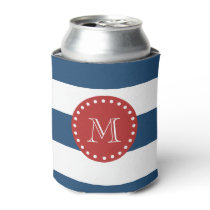 Navy Blue White Stripes Pattern, Red Monogram Can Cooler