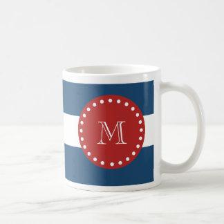Navy Blue White Stripes Pattern, Red Monogram Coffee Mug