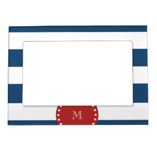 Navy Blue White Stripes Pattern, Red Monogram Magnetic Frame