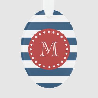 Navy Blue White Stripes Pattern, Red Monogram Ornament