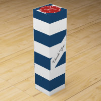 Navy Blue White Stripes Pattern, Red Monogram Wine Gift Box