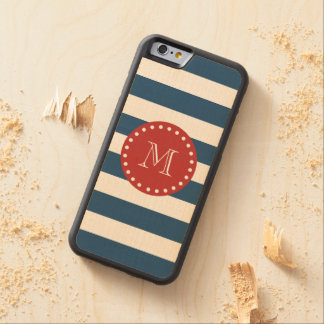 Navy Blue White Stripes Pattern, Red Monogram Carved® Maple iPhone 6 Bumper Case