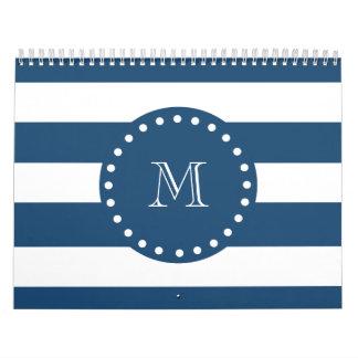 Navy Blue White Stripes Pattern, Your Monogram Wall Calendars
