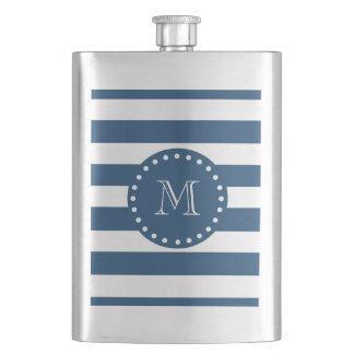 Navy Blue White Stripes Pattern, Your Monogram Flask