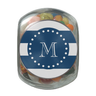 Navy Blue White Stripes Pattern, Your Monogram Glass Candy Jars