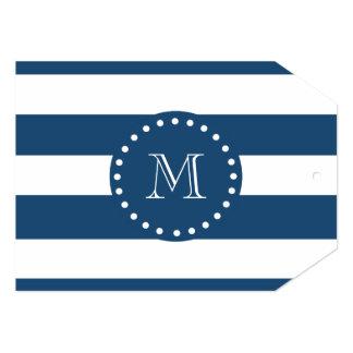 Navy Blue White Stripes Pattern, Your Monogram 5x7 Paper Invitation Card