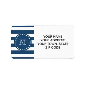 Navy Blue White Stripes Pattern, Your Monogram Personalized Address Label