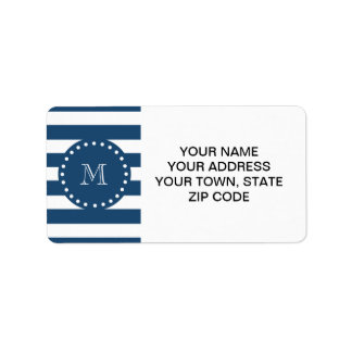 Navy Blue White Stripes Pattern, Your Monogram Label
