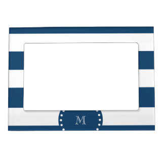 Navy Blue White Stripes Pattern, Your Monogram Picture Frame Magnet