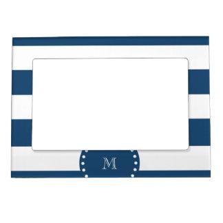 Navy Blue White Stripes Pattern, Your Monogram Magnetic Photo Frame