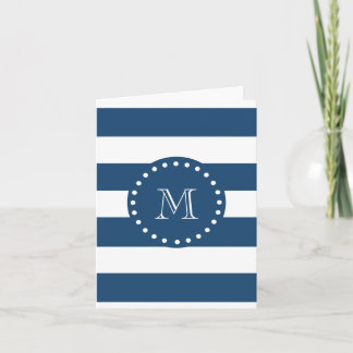 Navy Blue White Stripes Pattern, Your Monogram Note Card