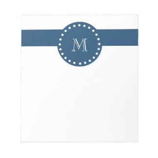 Navy Blue White Stripes Pattern, Your Monogram Notepad