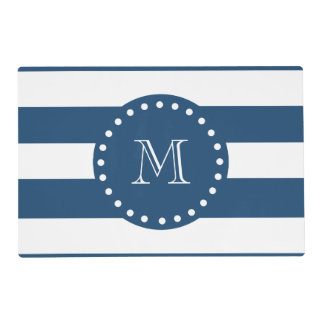 Navy Blue White Stripes Pattern, Your Monogram Laminated Place Mat