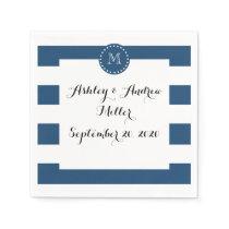 Navy Blue White Stripes Pattern, Your Monogram Paper Napkin