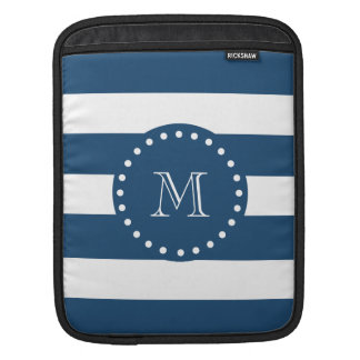 Navy Blue White Stripes Pattern, Your Monogram Sleeve For iPads