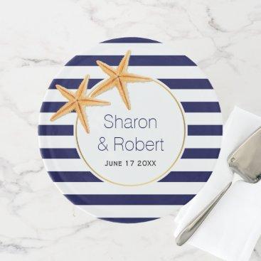 Beach Themed Navy blue, white stripes, starfish beach wedding cake stand