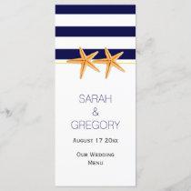 Navy blue white stripes starfish wedding menu card