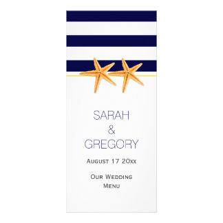 Navy blue white stripes starfish wedding menu card