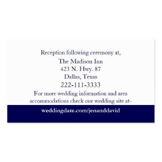 Navy Blue & White Stripes Wedding Enclosure Cards Business Cards