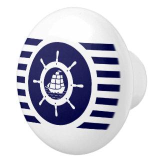 Navy Blue & White Stripes With Nautical Boat Wheel Ceramic Knob