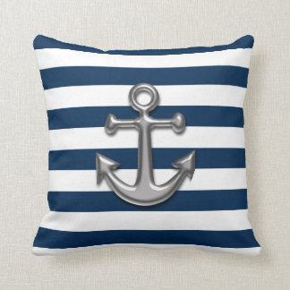Navy Blue & White Stripes with Silver Anchor Throw Pillow