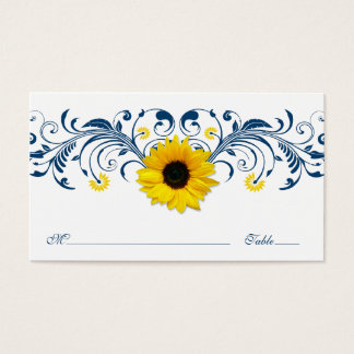 Navy Blue White Sunflower Floral Wedding Placecard Business Card