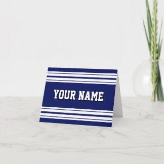 Navy Blue White Team Jersey Custom Name DIY BG Note Card