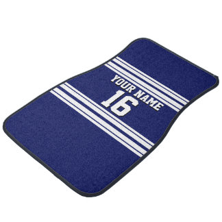 Navy Blue White Team Jersey Custom Number Name Car Floor Mat
