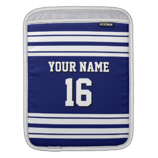 Navy Blue White Team Jersey Custom Number Name iPad Sleeve