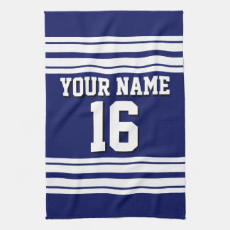 Navy Blue White Team Jersey Custom Number Name Kitchen Towel