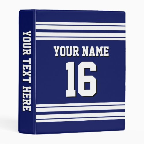 Navy Blue White Team Jersey Custom Number Name Mini Binder