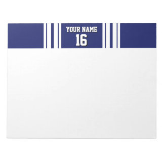 Navy Blue White Team Jersey Custom Number Name Notepad