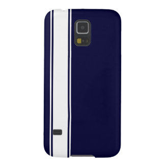 Navy Blue & White Team Jersey Stripe Samsung  Case