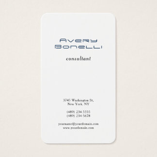 Navy Blue White Trendy Minimalist Professional Business Card