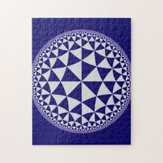 Navy Blue & White Triangle Filled Mandala Jigsaw Puzzle